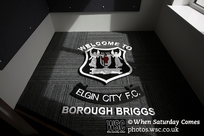 Elgin City 3 Edinburgh City 0, 13/08/2016. Borough Briggs, Scottish League Two. Signage in the reception area at Borough Briggs, home to Elgin City, on the day they played SPFL2 newcomers Edinburgh City. Elgin City were a former Highland League club who were elected to the Scottish League in 2000, whereas Edinburgh City became the first club to gain promotion to the League by winning the Lowland League title and subsequent play-off matches in 2015-16. This match, Edinburgh City's first away Scottish League match since 1949, ended in a 3-0 defeat, watched by a crowd of 610. Photo by Colin McPherson.
