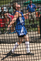 Delta' s Alex Lashley spins in the dicus ring on his way to a 13th place finish in the Class 1 Boys discus with a best toss of 113-10.