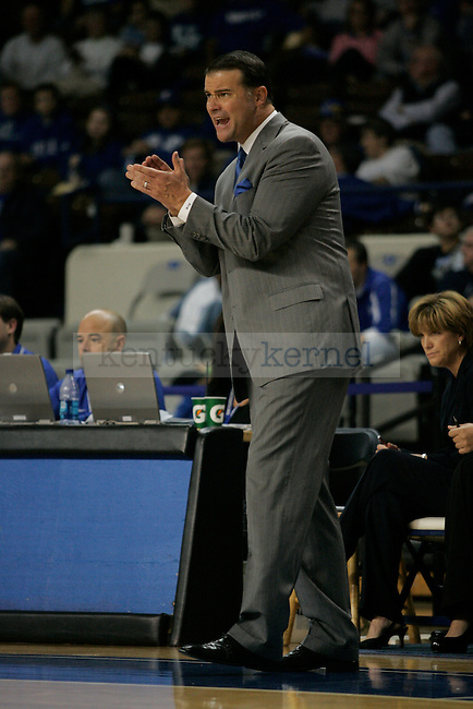 UK Women's Basketball Head Coach Matthew Mitchell cheers on his team as the play Miami (OH) in Memorial Coliseum on Tuesday, Nov. 1st, 2009. Photo by Scott Hannigan | Staff.