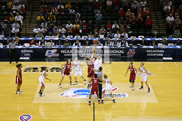 25 March 2006: Kristen Newlin during Stanford's 88-74 win over the Oklahoma Sooners during the NCAA Women's Basketball tournament in San Antonio, TX.