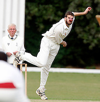 J Gregory bowls for Hornsey during the Middlesex County Cricket League Division Three game between Hornsey and Bessborough at Tivoli Road, Crouch End on Sat Aug 21, 2010.