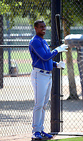 Hector Olivera, a native of Cuba signed by the Los Angeles Dodgers to a 6-year, $62.5 million contract,plays in his first extended spring training game for the Dodgers against the Cincinnati Reds at Camelback Ranch on May 28, 2015 in Glendale, Arizona (Bill Mitchell)