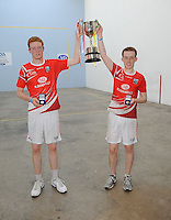 21st September 2013; Michael Hedigan and Daniel Relihan, Cork, with the cup after their win in the Minor Doubles Final. GAA Handball, All-Ireland Finals, Broadford Handball Club, Co Limerick. Picture credit: Tommy Grealy/actionshots.ie.