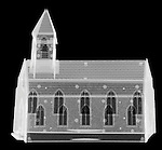 X-ray image of a church (white on black) by Jim Wehtje, specialist in x-ray art and design images.