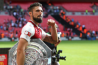 Olivier Giroud of Arsenal celebrates with the Community Shield during Arsenal vs Chelsea, FA Community Shield Football at Wembley Stadium on 6th August 2017