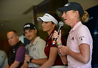 NWA Democrat-Gazette/ANDY SHUPE<br /> Stacy Lewis (from right), speaks Tuesday, April 9, 2019, alongside Gaby Lopez and Austin Cook, all former Arkansas and current professional golfers, during a press conference to announce the details of the NCAA Men's and Women's Golf Nation Championship at Blessings Golf Club in Johnson.
