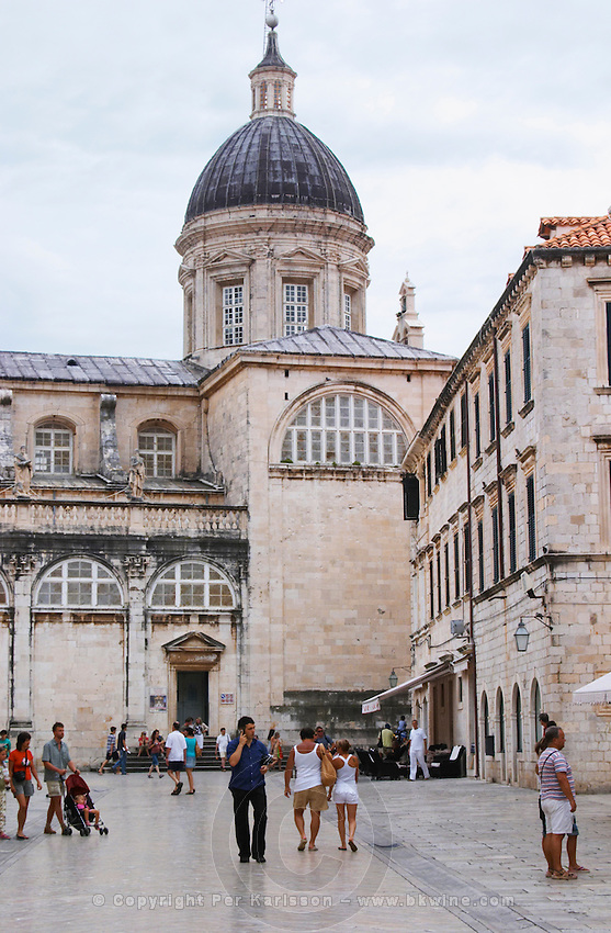 The cathedral of the Assumption of Our Lady Uznesenja Marijina on the Luza Lodge Loggia Square on the Pred Dvorom street Dubrovnik, old city. Dalmatian Coast, Croatia, Europe.