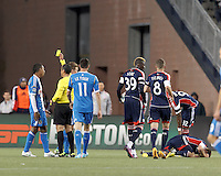 Yellow Card: Philadelphia Union substitute midfielder Jose Kieberson (19).In a Major League Soccer (MLS) match, the New England Revolution (blue/red) defeated Philadelphia Union (blue/white), 2-0, at Gillette Stadium on April 27, 2013.