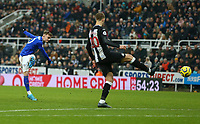 1st January 2020; St James Park, Newcastle, Tyne and Wear, England; English Premier League Football, Newcastle United versus Leicester City; James Maddison of Leicester City shoots for goal past Lejeune but it was saved by goalkeeper Dubravka of Newcastle - Strictly Editorial Use Only. No use with unauthorized audio, video, data, fixture lists, club/league logos or 'live' services. Online in-match use limited to 120 images, no video emulation. No use in betting, games or single club/league/player publications
