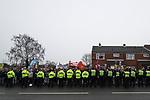 © Joel Goodman - 07973 332324 . 20/01/2018. Doncaster, UK. An anti-fascist counter protest is kept apart from the EDL demonstration by a wall of police . Far-right street protest movement , the English Defence League ( EDL ) , hold a demonstration , opposed by anti-fascists , including Unite Against Fascism ( UAF ) in the Hexthorpe area of Doncaster . EDL supporters chanted anti-Roma slogans as they marched through the town . Photo credit : Joel Goodman