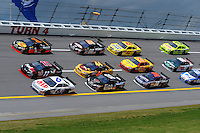 Apr 25, 2008; Talladega, AL, USA; NASCAR Sprint Cup Series drivers David Ragan (6) Denny Hamlin (11) and Martin Truex Jr (1) lead a pack of cars during practice for the Aarons 499 at Talladega Superspeedway. Mandatory Credit: Mark J. Rebilas-US PRESSWIRE