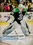 24 October 2015: University of North Dakota Goaltender Matt Hrynkiw, a Junior from Saskatoon, Saskatchewan, prepares to start the second period against the University of Vermont Catamounts at Gutterson Fieldhouse in Burlington, Vermont. North Dakota defeated the Catamounts 5-2 in the second game of their weekend series. Mandatory Credit: Ed Wolfstein Photo *** RAW (NEF) Image File Available ***