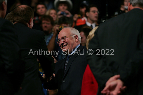 New York, New York<br /> USA<br /> August 30, 2004<br /> <br /> Republican National Convention begins in Madison Square Garden with delegates and speakers.<br /> <br /> Vice President Dick Cheney in the convention hall.