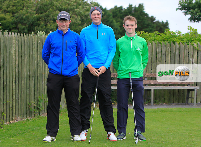 Conor Glennon (Glasson), Paddy Bird (Co. Sligo) and Darren Houlihan (Douglas) on the 1st tee during R2 of the 2016 Connacht U18 Boys Open, played at Galway Golf Club, Galway, Galway, Ireland. 06/07/2016. <br /> Picture: Thos Caffrey | Golffile<br /> <br /> All photos usage must carry mandatory copyright credit   (&copy; Golffile | Thos Caffrey)