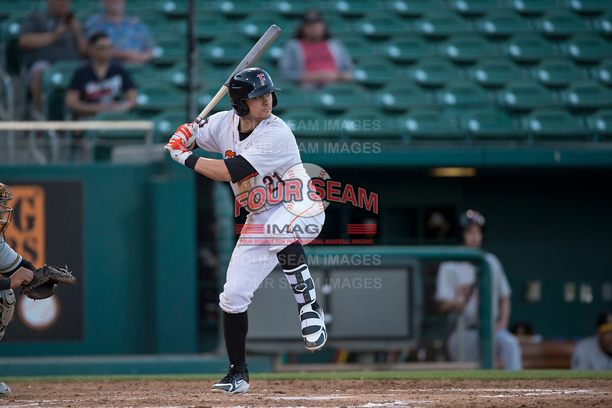 Fresno Grizzlies third baseman JD Davis (21) at bat during a Pacific Coast League game against the Salt Lake Bees at Chukchansi Park on May 14, 2018 in Fresno, California. Fresno defeated Salt Lake 4-3. (Zachary Lucy/Four Seam Images)