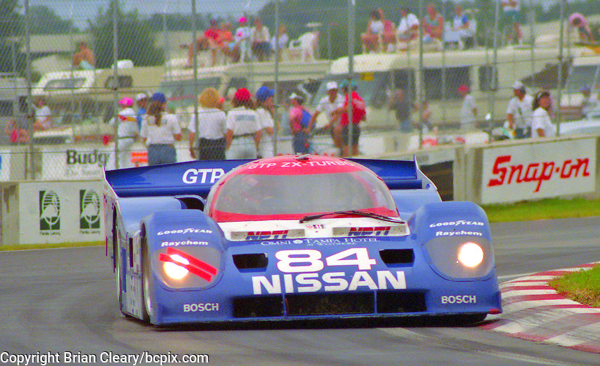 The #84 Nissan Performance  Nissan NPT-90  of  Chip Robinson  races to a 2nd place finish in the Nissan World Challenge of Tampa,  Florida State Fairgrounds, September 1990. (Photo by Brian Cleary/www.bcpix.com)