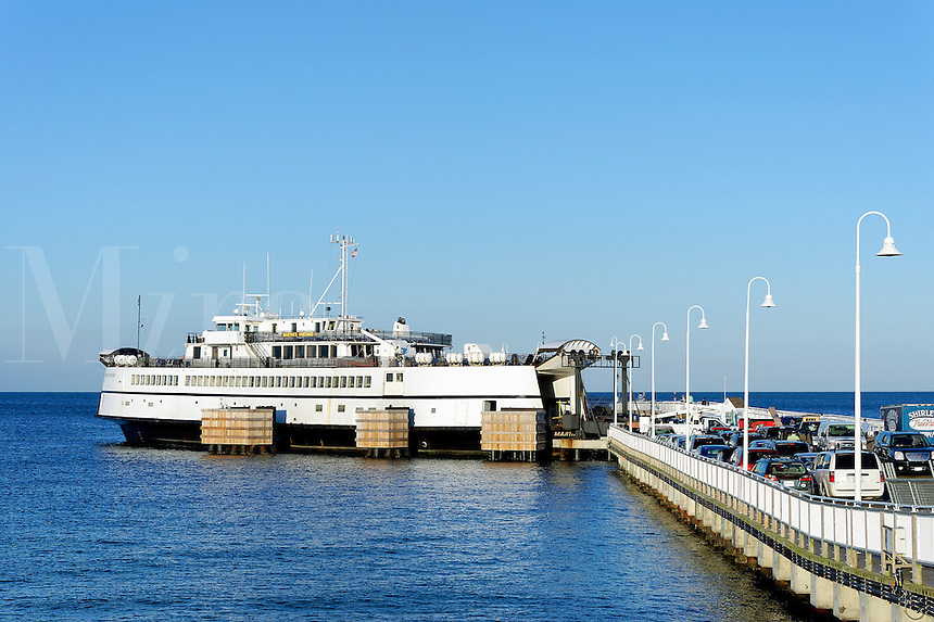 Ferry arrives in Oak Bluffs, Martha's Vineyard, Massachusetts, USA