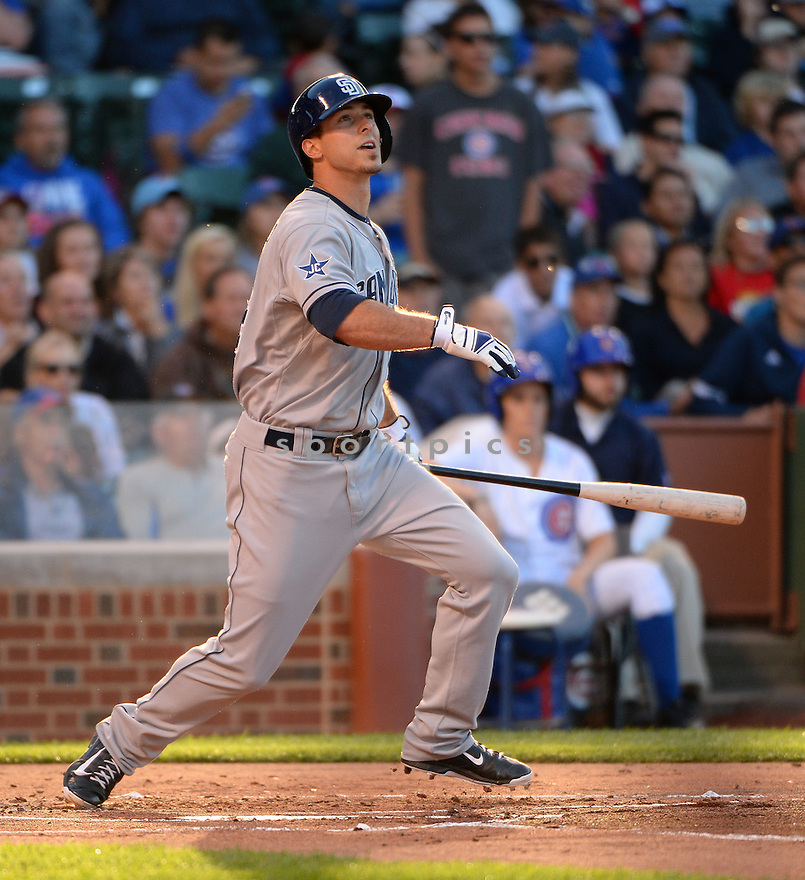 San Diego Padres Tommy Medica (14) during a game against the Chicago Cubs on July 23, 2014 at Wrigley Field in Chicago, IL. The Padres beat the Cubs 8-3.