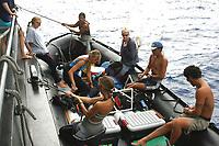 researchers leaving on Zodiac for REA survey, Nihoa, Papahanaumokuakea Marine National Monument, Northwestern Hawaiian Islands, Hawaii, USA, Pacific Ocean
