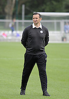 Kansas City, MO - Friday May 13, 2016: FC Kansas City head coach Vlatko Andonovski before the game. FC Kansas City and the Chicago Red Stars played to a 0-0 tie during a regular season National Women's Soccer League (NWSL) match at Swope Soccer Village.