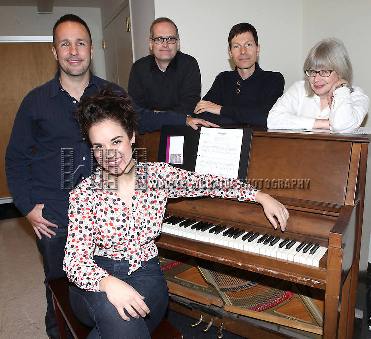 Alexandra Siber with Kenneth Gartman, Jack Cummings III, Victor Lodato and Polly Pen rehearsing for  'Arlington' part of  'Inner Voices' A Trilogy about Intimate Explorations of Courage, Loss and Acceptance at the MTC Studios on 10/23/2012 in New York City.