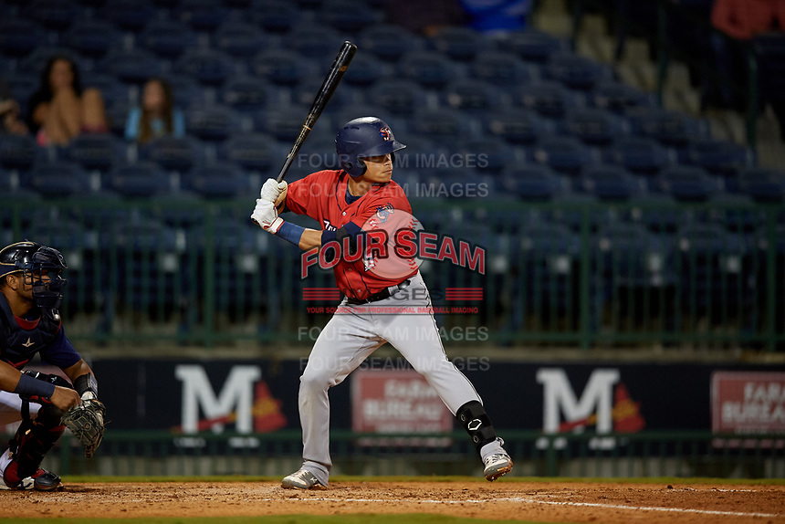Jacksonville Jumbo Shrimp Bryson Brigman (6) at bat during a Southern League game against the Mississippi Braves on May 4, 2019 at Trustmark Park in Pearl, Mississippi.  Mississippi defeated Jacksonville 2-0.  (Mike Janes/Four Seam Images)