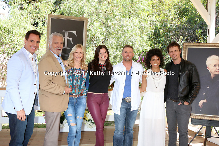 """LOS ANGELES - APR 14:  Mark Steines, John McCook, Katherine Kelly Lang, Heather Tom, Jacob Young, Karla Mosley, Darin Brooks at the """"Home and Family"""" Celebrates """"Bold and Beautiful's"""" 30 Years at Universal Studios Back Lot on April 14, 2017 in Los Angeles, CA"""
