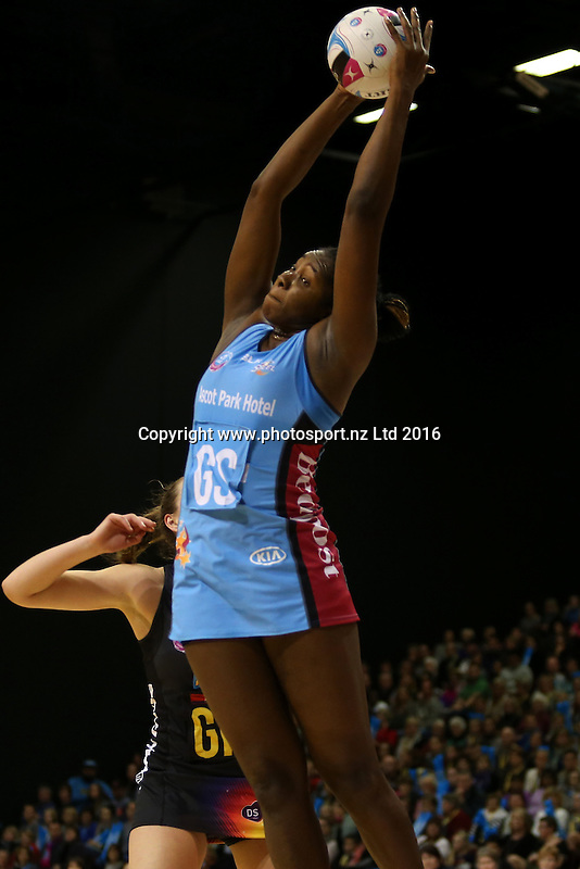 Jhaniele Fowler-Reid of the Steel grabs the rebound during the ANZ Championship netball match between the Southern Steel and Waikato Bay of Plenty Magic, ILT Stadium Southland, Invercargill, Sunday, June 19, 2016. Photo: Dianne Manson / www.photosport.nz