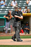 Home plate umpire Clay Park handles the calls as the El Paso Chihuahuas faced the Salt Lake Bees in Pacific Coast League action at Smith's Ballpark on July 10, 2016 in Salt Lake City, Utah. El Paso defeated Salt Lake 11-2. (Stephen Smith/Four Seam Images)