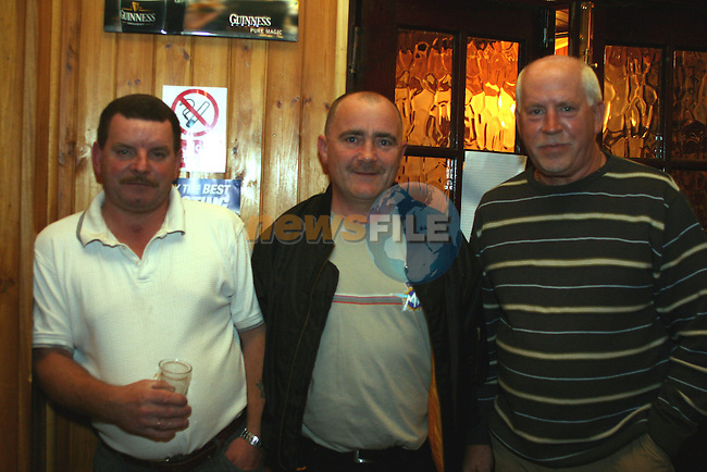 John Carolan, Des Finnegan and Mick Murray at the Duleek Senior Citizen Outing Committee Annual Auction in the Greyhound Pub, Duleek...Photo NEWSFILE/Jenny Matthews.(Photo credit should read Jenny Matthews/NEWSFILE)....This Picture has been sent you under the condtions enclosed by:.Newsfile Ltd..The Studio,.Millmount Abbey,.Drogheda,.Co Meath..Ireland..Tel: +353(0)41-9871240.Fax: +353(0)41-9871260.GSM: +353(0)86-2500958.email: pictures@newsfile.ie.www.newsfile.ie.FTP: 193.120.102.198.
