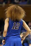 24 March 2014: DePaul's Brittany Hrynko's hair. The Duke University Blue Devils played the DePaul University Blue Demons in an NCAA Division I Women's Basketball Tournament Second Round game at Cameron Indoor Stadium in Durham, North Carolina. DePaul won the game 74-65.
