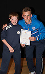 St Johnstone FC Academy Awards Night...06.04.15  Perth Concert Hall<br /> Ally Gilchrist presents a certificate to Rory Hutchison<br /> Picture by Graeme Hart.<br /> Copyright Perthshire Picture Agency<br /> Tel: 01738 623350  Mobile: 07990 594431