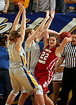 BROOKINGS, SD - FEBRUARY 2:  Bridget Arens #22 from the University of South Dakota looks for help while being double teamed by Chynna Stevens #0 and Clarissa Ober #21 from South Dakota State in the first half of their game Sunday afternoon at Frost Arena in Brookings. (Photo by Dave Eggen/Inertia)