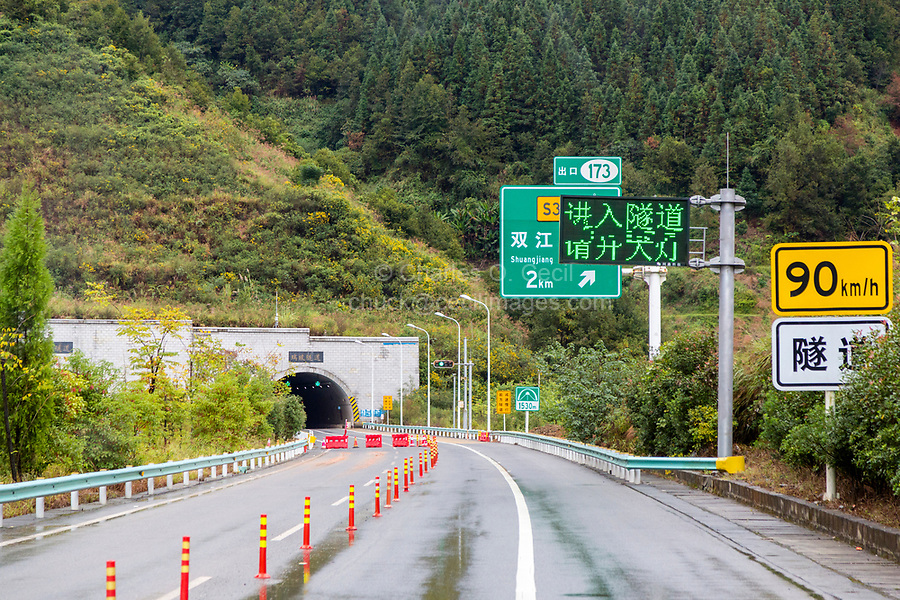 Guizhou, China.  Modern Highway in Guizhou Province, Approaching Tunnel.