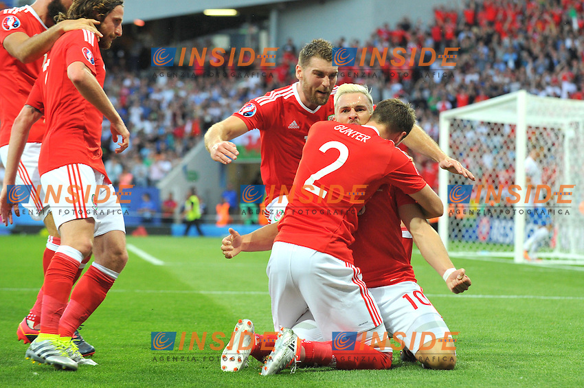 10 Aaron Ramsey (wal) - 02 Chris Gunter (wal) Esultanza Gol <br /> Toulouse 20-06-2016 Stade de Toulouse Football Euro2016 Russia - Wales / Russia - Galles Group Stage Group B. Foto Philippe LECOEUR / Panoramic / Insidefoto
