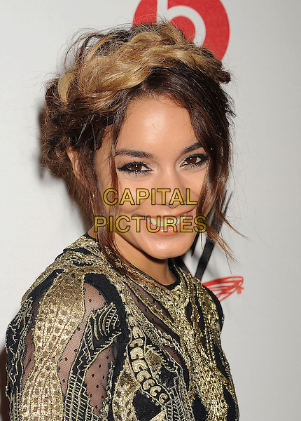 Vanessa Hudgens<br /> WWE &amp; E! Entertainment's &quot;SuperStars For Hope&quot; supporting Make-A-Wish at The Beverly Hills Hotel in Beverly Hills, CA., USA.<br /> August 15th, 2013<br /> headshot portrait gold black embroidered hair up braid plait dyed blonde  <br /> CAP/ROT/TM<br /> &copy;Tony Michaels/Roth Stock/Capital Pictures