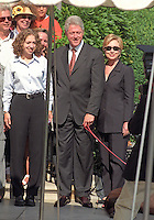 28 October 2016 - Bill Clinton and Hillary Clinton during the Monica Lewinsky Scandal. File Photo: The First Family poses for a family portrait as they depart the White House for their two week vacation in Martha's Vineyard, Massachusetts on Thursday, August 19, 1999.  The President celebrated his 53rd birthday earlier in the day at a party thrown for him by approximately 200 members of the White House staff and volunteers on the South Lawn. (L-R) Chelsea Clinton, U.S. President Bill Clinton, First Lady Hillary Rodham Clinton.  On Tuesday, August 17, 1999, the President testified before the Grand Jury on his involvement in the Monica Lewinsky scandal and subsequently made a nationally televised statement admitting he had an inappropriate relationship with Ms. Lewinsky. Photo Credit: Ron Sachs/CNP/AdMedia