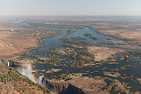 Wide angle view of the famous Victoria Falls as seen from the air