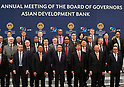 May 6, 2017, Yokohama, Japan -  Board members of Governors of the Asian Development Bank (ADB) pose for photo at the ADB annual meeting in Yokohama, suburban Tokyo on Saturday, May 6, 2017, at (C) is Japanese Finance Minister Taro Aso and (3rd R) is ADB president Takehiko Nakao. ADB has a four-day session for its annual meeting to celebrate the 50th anniversary of the ADB.   (Photo by Yoshio Tsunoda/AFLO) LwX -ytd-