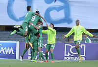BOGOTA - COLOMBIA -07 -03-2015: Jugadores de La Equidad celebran un gol en contra de Millonarios durante partido por la fecha 8 de la Liga Águila I 2015 jugado en el estadio Nemesio Camacho El Campín de la ciudad de Bogotá./ Players of La Equidad celebrate a goal scored to Millonarios during the match for the 8th date of the Aguila League I 2015 played at Nemesio Camacho El Campin stadium in Bogotá city. Photo: VizzorImage / Gabriel Aponte / Staff.