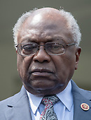 United States House Assistant Democratic Leader James Clyburn (Democrat of South Carolina) listens as Democratic members of the US House and Senate speak to reporters at the White House in Washington, DC after meeting with US President Donald J. Trump on April 30, 2019.  Lujan serves as assistant speaker and recently announced he is running for the US Senate from New Mexico in the 2020 election.<br /> Credit: Ron Sachs / CNP