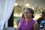 Kellea Tibbs, Assistant Director of Campus Relations, welcomes guests to the 2016 Black Alumni Reunion welcome reception held at Tailgreat Park on Thursday, September 15, 2016.