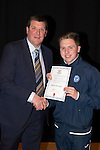 St Johnstone FC Academy Awards Night...06.04.15  Perth Concert Hall<br /> Tommy Wright presents a certificate to Blaine Duncan<br /> Picture by Graeme Hart.<br /> Copyright Perthshire Picture Agency<br /> Tel: 01738 623350  Mobile: 07990 594431