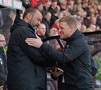 Wolverhampton Wanderers manager Nuno Espirito Santo (left) & Bournemouth manager Eddie Howe (right) <br /> <br /> Photographer David Horton/CameraSport<br /> <br /> The Premier League - Bournemouth v Wolverhampton Wanderers - Saturday 23 February 2019 - Vitality Stadium - Bournemouth<br /> <br /> World Copyright © 2019 CameraSport. All rights reserved. 43 Linden Ave. Countesthorpe. Leicester. England. LE8 5PG - Tel: +44 (0) 116 277 4147 - admin@camerasport.com - www.camerasport.com