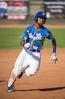 Deion Ulmer (3) of the Ogden Raptors hustles towards third base against the Grand Junction Rockies in Pioneer League action at Lindquist Field on July 5, 2015 in Ogden, Utah. Ogden defeated Grand Junction 12-2. (Stephen Smith/Four Seam Images)