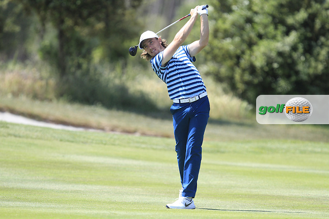 Tommy Fleetwood (ENG) on the 18th during Round 3 of the Open de Espana  in Club de Golf el Prat, Barcelona on Saturday 16th May 2015.<br /> Picture:  Thos Caffrey / www.golffile.ie