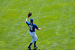 June 30, 2009 -- Omaha Royals left fielder Scott Thorman, from Cambridge, Ontario, makes a defensive play against the Albuquerque Isotopes in a minor league professional baseball game on Tuesday June 30, 2009 in Omaha, Nebraska. PHOTO/Daniel Johnson