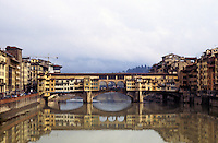 Florence: Ponte Vecchio, c. 1333. Overhead passage about 1570, after Medici bought the Pitti Palace.
