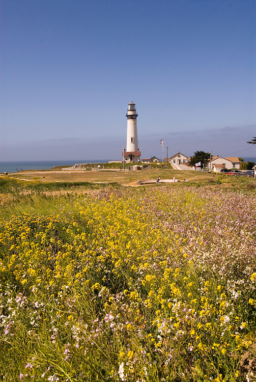 Pigeon Point Lighthouse, major example of  lighthouse architecture, now a Youth Hostel,.San Mateo Coast of California, south of San Francisco.  Photo copyright Lee Foster, 510-549-2202, lee@fostertravel.com, www.fostertravel.com, photo 474-30929
