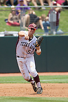 Texas A&M Aggies third baseman Hunter Melton (50) makes a throw to first base against the LSU Tigers in the NCAA Southeastern Conference baseball game on May 11, 2013 at Blue Bell Park in College Station, Texas. LSU defeated Texas A&M 2-1 in extra innings to capture the SEC West Championship. (Andrew Woolley/Four Seam Images).